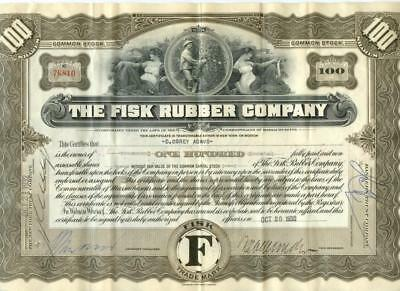 Massachusetts 1932 Fisk Rubber Tire Company Stock Certificate ABN Uniroyal #3