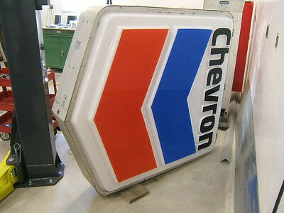 """1970's large LIGHT UP CHEVRON gas station sign 70"""" tall nice shape"""