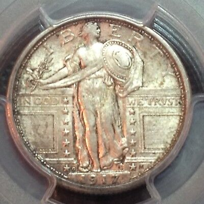 1917-D Type 1 PCGS  AU-58  Standing Liberty Quarter  Nice Type Coin