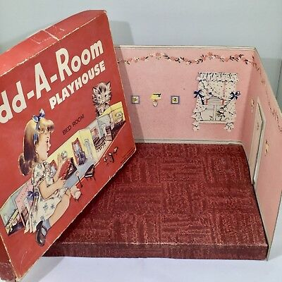 """RARE ADD-A-ROOM PLAYHOUSE/BEDROOM National Paper- Dollhouse RENWAL 3/4"""""""