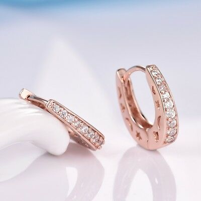 Unique Vintage Women Lady Party Sapphire Crystal Rose Gold Filled Hoop Earrings