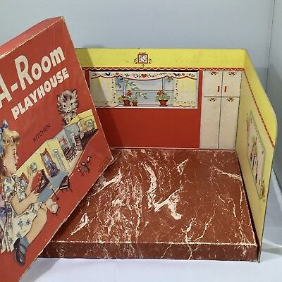 """RARE ADD-A-ROOM PLAYHOUSE/KITCHEN National Paper- Dollhouse RENWAL 3/4"""""""