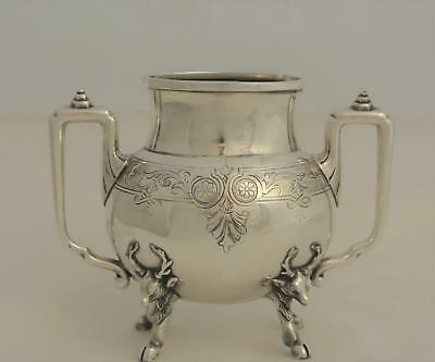 Victorian Silver Plate Mask Pattern Deer Figural Waste Pot Tea Caddy Rogers Bros