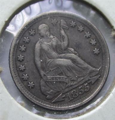 1855 Seated Liberty Half Dime Silver Coin