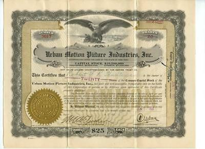 1921 Charles Urban Motion Picture Industries Stock Certificate British Films