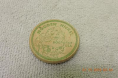 Great UNIQUE Lil' Abner DOGPATCH USA Good Fur Nuthin' Wooden Nickel Dated 1938