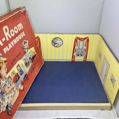 """RARE ADD-A-ROOM PLAYHOUSE/LIVING ROOM National Paper- Dollhouse RENWAL 3/4"""""""