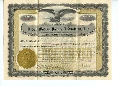 1922 Charles Urban Motion Picture Industries Stock Certificate British Films #2