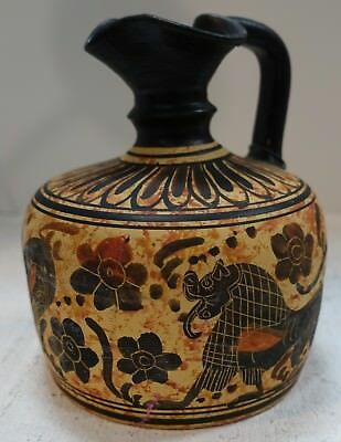 "#vtt19 ANCIENT GREEK MUSEUM REPRODUCTION CORINTH EWER 580 BC 5"" high"