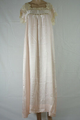Antique Edwardian Fine Lace Floral Embroidered Nightgown Pink Large