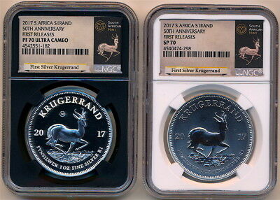 """(2)  2017 SILVER KRUGERRAND 50th ANNIVERSARY  """"FIRST RELEASES""""   PF & SP NGC 70s"""