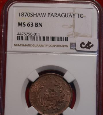 1870SHAW Paraguay 1 Centesimo Coin NGC Graded MS 63 BN
