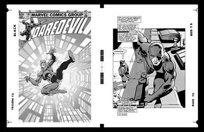 Frank Miller Daredevil #186 Cover And Pg 1 Rare Large Production Art