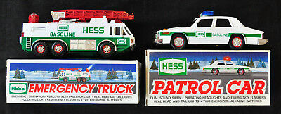 New In Boxes 1993 Hess Gasoline Patrol Car & 1996 Emergency Truck