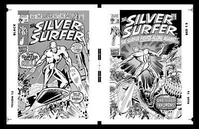John Buscema Silver Surfer #17 And #18 Covers Rare Large Production Art