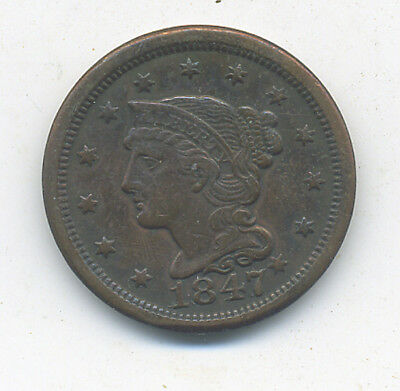 1847 US Large Cent - Nice Problem Free XF Coin