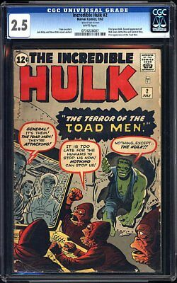 Incredible Hulk #2 CGC 2.5. White Pages. 1st App Green Hulk. 1st App Toad Man.