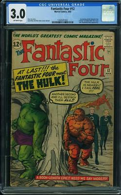 Fantastic Four #12 CGC 3.0. 1st Meeting of Hulk & FF. Classic Kirby Cover 1963.