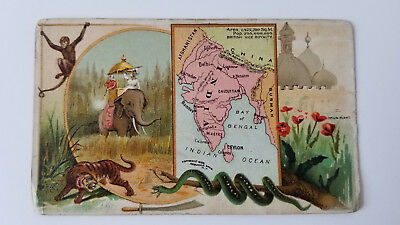 Arbuckles Coffee Card 1889 Map India
