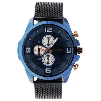 Stainless Stain Watch Band Men Blue Glass Dial Quartz Watch Business Watch