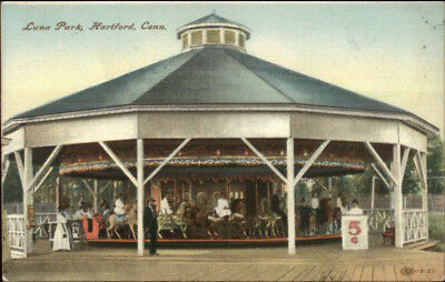 Hartford CT Luna Park Merry Go Round Carousel 1909 Used Postcard