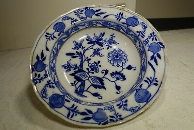 """PF19b MEISSEN BLUE ONION SOUP PLATE by Brown Westhead Moore, England 1895 7"""""""