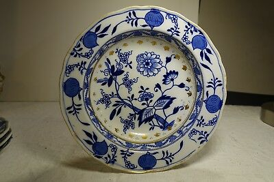 PF19C MEISSEN BLUE ONION SOUP PLATE by Brown Westhead Moore, England 1895 7""