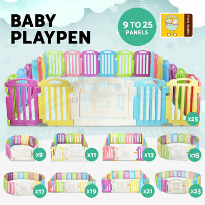 Baby Playpen Interactive Play Pen Safety Gate Kids Toddler Fence 19 to 25 Panel