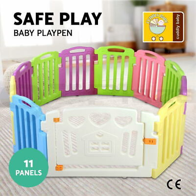 cuddly baby 11 Panel Baby Playpen Kids Toddler Plastic Gate Safety Lock Divider