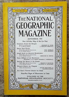 National Geographic SEP 1952 INDOCHINA EFFIGIES AMAZON PENGUINS DOWN EAST GIANTS