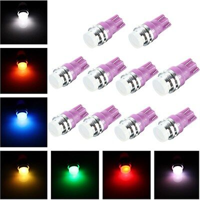10x T10 1 LED COB SMD Changing Color RGB Wedge Side Light Car Bulb Lamp 12V DC
