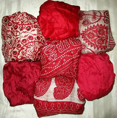UK LOT PURE SILK Vintage Sari REMNANT Fabric 7 Pcs 1 foot ech Red #,AQNW