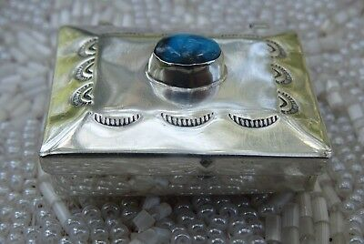 Vintage Navajo Sterling Silver and Turquoise Snuff Pill Box for Keepsakes
