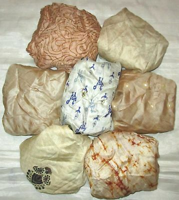 UK LOT PURE SILK Vintage Sari REMNANT Fabric 7 Pcs 1 foot ech Cream #,AQOY