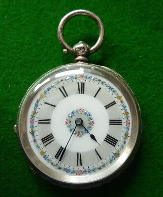 1885 Ladies Silver Enamelled Key Wind Pocket Watch - Excellent Condition