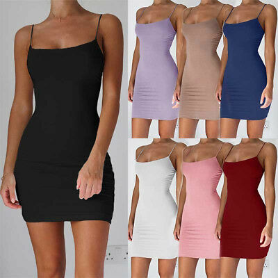 Women Spaghetti Strap Stretchy Package Hip Bodycon Mini Dress Short Club Dress