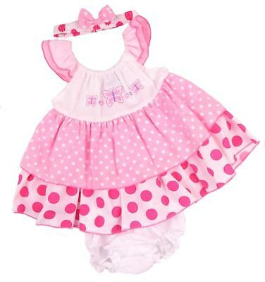 Baby Girls Summer Dress 6-9  9-12 12-18   Months Headband and Frilly Knickers