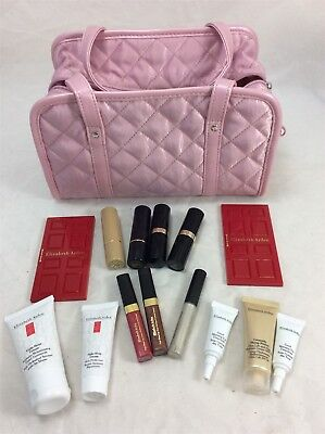 Elizabeth Arden Women's Pink Quilted Make Up Bag + 14 Assorted Items/Collection
