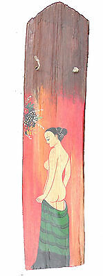 Reclaimed teak roof tile hand painted thai naked lady rustic driftwood