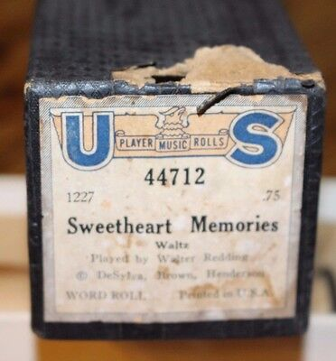 Vintage Player Piano Roll US 44712 SWEETHEART MEMORIES Waltz Word Roll with Box