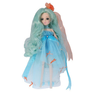 30 Joints Make Up Vinyl Ball Jointed BJD Body Doll in Blue Kid Toy Xmas Gift