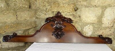 """47"""" French Antique Hand Carved Pediment Architectural Mahogany Wood"""