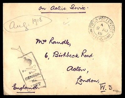 Fpo Aug 9 1918 Cancel On Censored Cover To London England