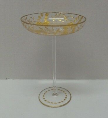 Vintage Antique Gold Flowers Cut Glass Tall Champagne Compote glass