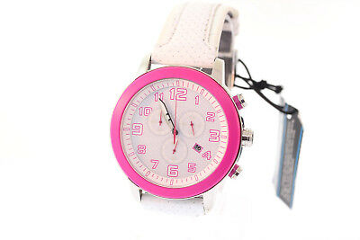 Ladies Citizen AT2230-03A Eco-Drive White Leather Pink Accent Chronograph Watch