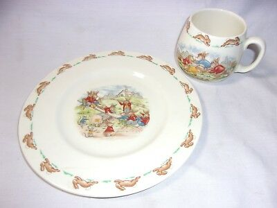 Bunnykins Royal Doulton Child's Plate & Cup Vintage English Fine Bone China   T*