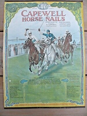 1906 Capewell Horse Nails Hartford Conn Polo Advertising Calendar Not Reprint