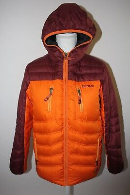 Marmot 650-Fill Down Jacket Puffer Orange Youth Kids XL Hooded Coat Tiny Flaw