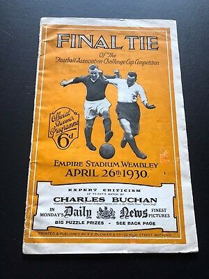 1930 Fa Cup Final Programme Arsenal V Huddersfield Town..unbelievably Scarce!!