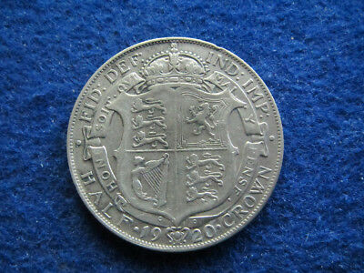 1920 Great Britain Silver Half Crown - About Very Fine  - Free U S Shipping